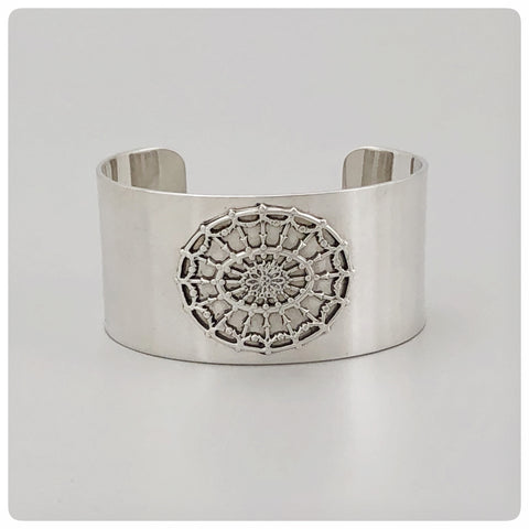 "Sterling Silver Solid Cuff Bracelet with Oval Medallion, ""Daughters of the American Revolution"" Collection, G2 Silver, Charleston, SC, New - The Silver Vault of Charleston"