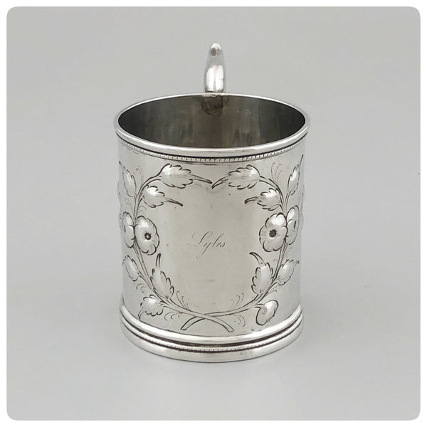 "Front View, Coin Silver Handled Cup, Engraved ""Lyles"", Radcliffe and Guignard, Columbia, SC 1856-1858 - The Silver Vault of Charleston"