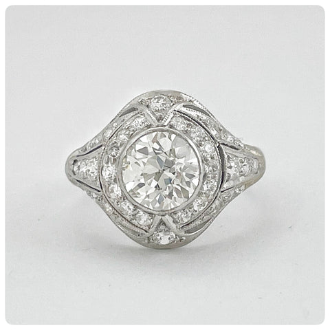 Edwardian Platinum and Old European Cut Diamond Ring - The Silver Vault of Charleston