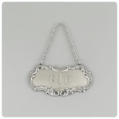 "Sterling Silver ""Gin"" Decanter Label / Tag, Gorham Manufacturing Company, Providence, RI, 20th Century"