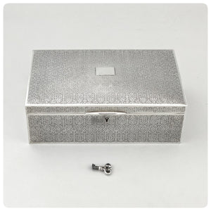 Sterling Silver and Velvet Jewelry Box with Key, Tiffany and Company, New York, NY, 1917-1947 - The Silver Vault of Charleston