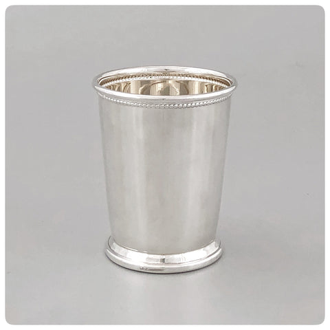 Sterling Silver Mint Julep Cup with Beaded Trim, Empire Silver Company, Brooklyn, NY, New - The Silver Vault of Charleston