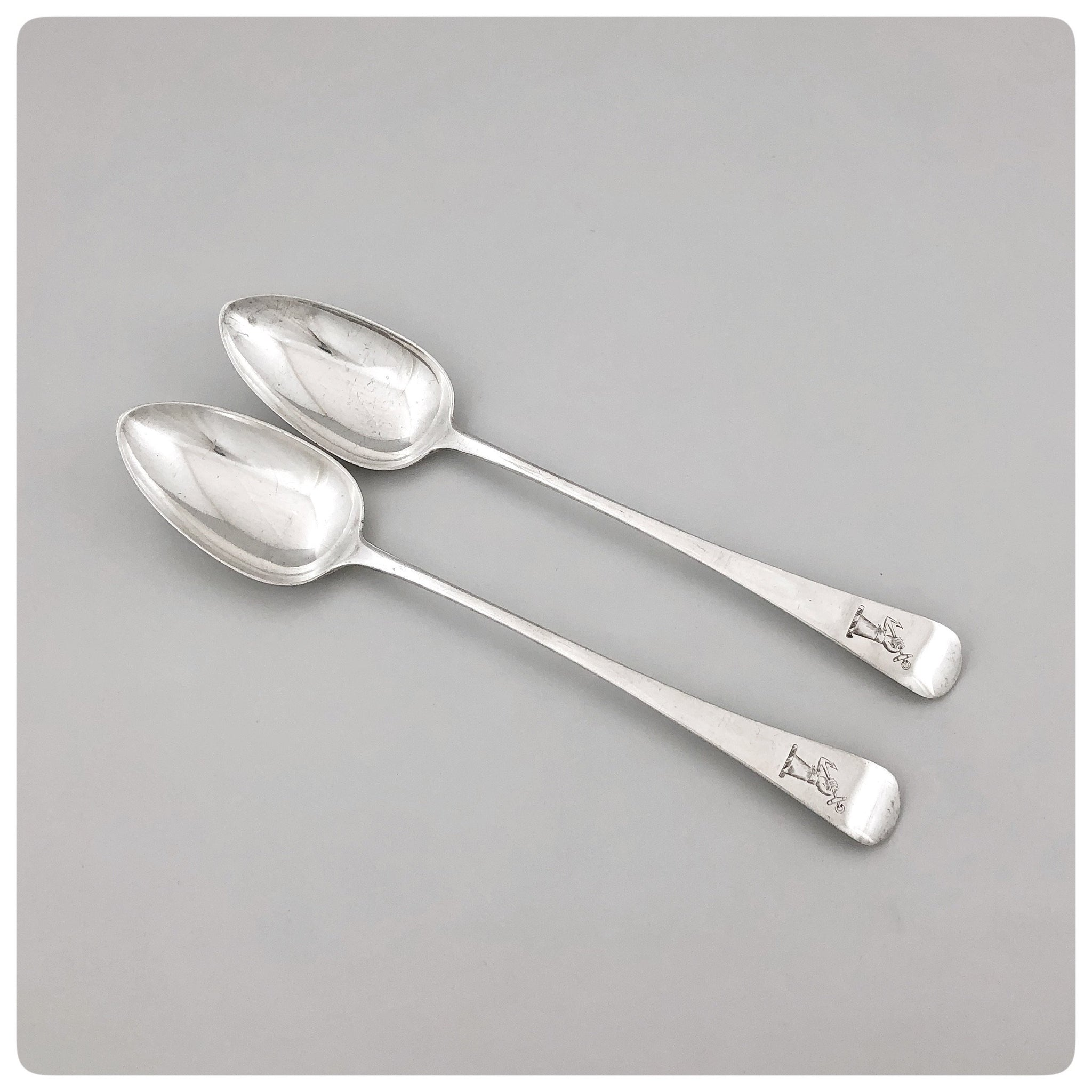 Pair of English Sterling Silver Rice / Stuffing / Platter Spoons, George Smith II, London, 1806-1807 - The Silver Vault of Charleston