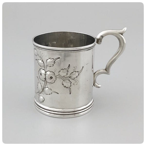 "Side View, Coin Silver Handled Cup, Engraved ""Lyles"", Radcliffe and Guignard, Columbia, SC 1856-1858 - The Silver Vault of Charleston"