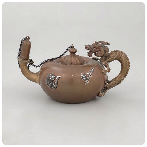 Boy Hunting Squirrel Applique, Copper and Silver Japonism Smoking, Cigar Lamp, Lighter, Gorham Manufacturing Company, Providence, RI, 1883 - The Silver Vault of Charleston