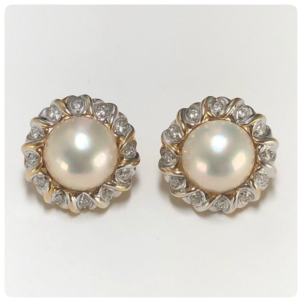 14KT Two-Toned Gold, Mabe Pearl and Diamond Earrings, HKM, 20th Century - The Silver Vault of Charleston