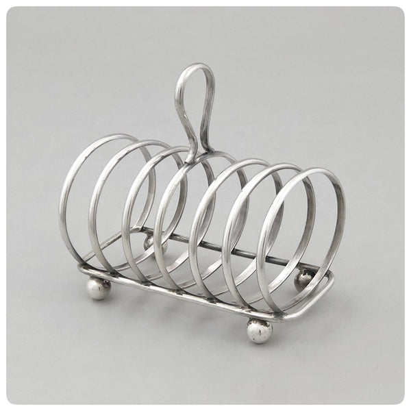German 835/1000 Standard Silver Toast Rack, Gebruder Deyhle, 19th Century - The Silver Vault of Charleston