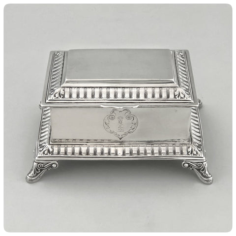 German 800/1000 Standard Solid Silver Box with Hinged Lid, Koch and Bergeld, Bremen, 1920 - Circa 1939 - The Silver Vault of Charleston