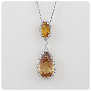 18KT White Gold, Golden Tourmaline, Diamond Pendant, James Breski and Company, Chicago, IL, 2015 - The Silver Vault of Charleston
