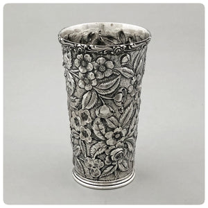 "Sterling Silver Tumbler in ""Baltimore Rose"", Schofield Company, Baltimore, MD, Early 20th Century - The Silver Vault of Charleston"