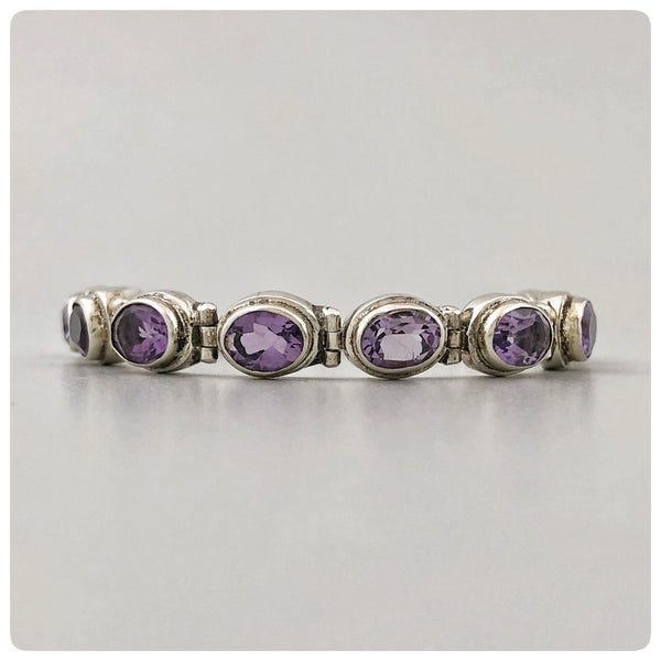 Sterling Silver and 10 Oval Faceted Amethyst Line Bracelet, Bali, New - The Silver Vault of Charleston