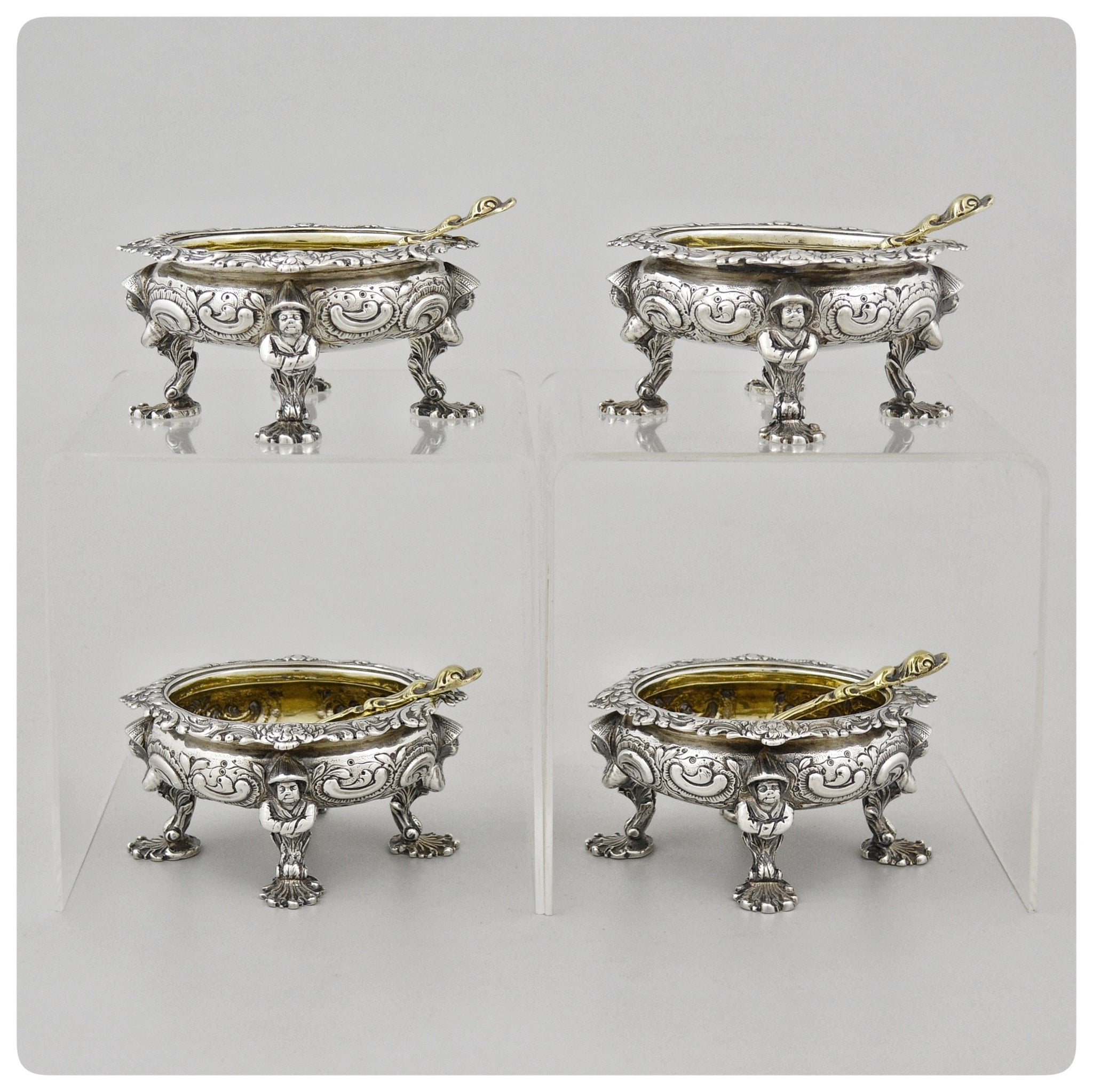 "Four English Sterling Silver Chinoiserie Salt Cellars, Rebecca Emes and Edward Barnard, London, 1817-1818  with Accompanying Spoons Marked ""GF"" - The Silver Vault of Charleston"