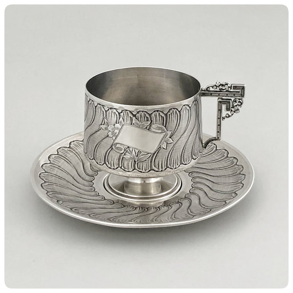 First Standard (950/1000) Solid Silver Cup and Saucer with Guilloche, Savard, Paris, Circa 1905 - The Silver Vault of Charleston