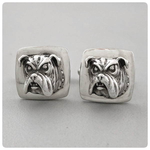 Pair of Sterling Silver Square Cufflinks with Bulldogs, G2 Silver, Charleston, SC, New - The Silver Vault of Charleston