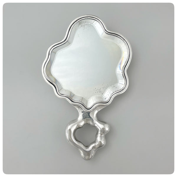 Mirror, Sterling Silver and Beveled Glass Hand Mirror, International Silver Company, Meriden, CT, Early 20th Century - The Silver Vault of Charleston