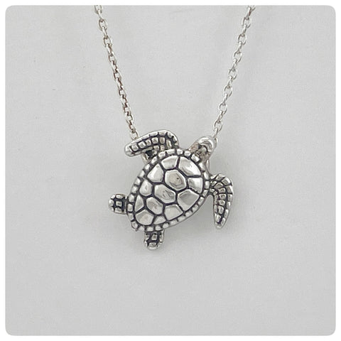 Sterling Silver Loggerhead Turtle Slide Pendant on Adjustable Chain, G2 Silver, Charleston, SC, New - The Silver Vault of Charleston