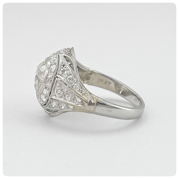 Side view, Edwardian Platinum and Old European Cut Diamond Ring - The Silver Vault of Charleston