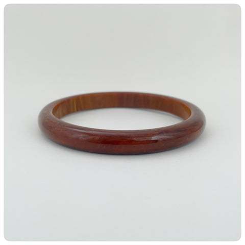 Rootbeer Bakelite Bangle Bracelet, Early 20th Century - The Silver Vault of Charleston