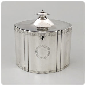 English Sterling Silver Tea Caddy, Thomas Watson and Company, Sheffield, 1798-1799 - The Silver Vault of Charleston