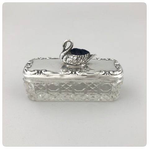 English Sterling Silver and Cut Crystal Pin Box with Cushion, Boots Pure Drug Company, Birmingham, 1909-1910 - The Silver Vault of Charleston