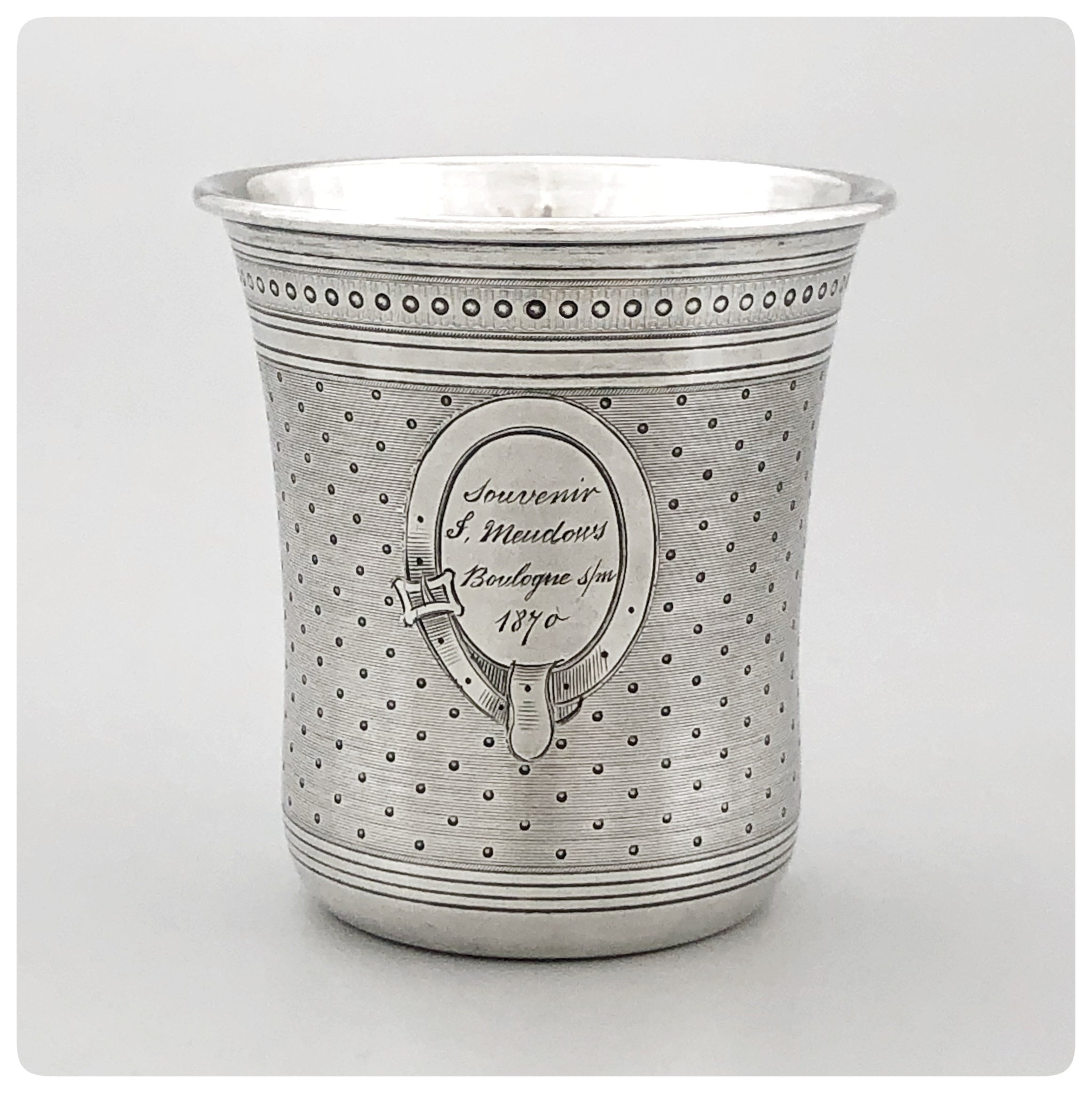 First  Standard (950/1000) Solid Silver Beaker, Pellerin and Lemoing, Paris, 1870