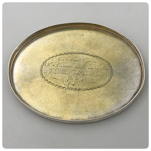 English Sterling Silver and Vermeil Oval Box, James Phipps I, London, Circa 1775 - The Silver Vault of Charleston