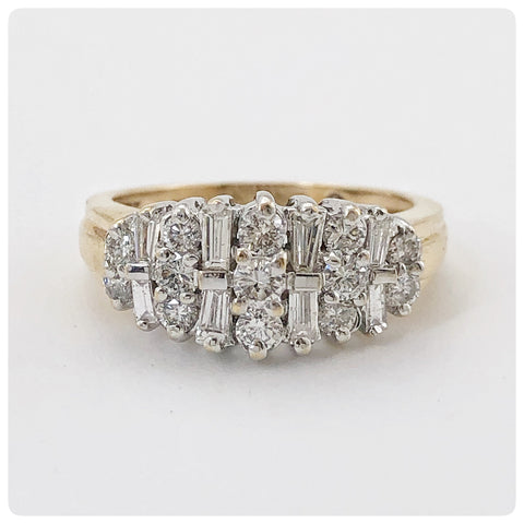 14KT Gold and Diamond Dinner / Anniversary Ring, 20th Century - The Silver Vault of Charleston