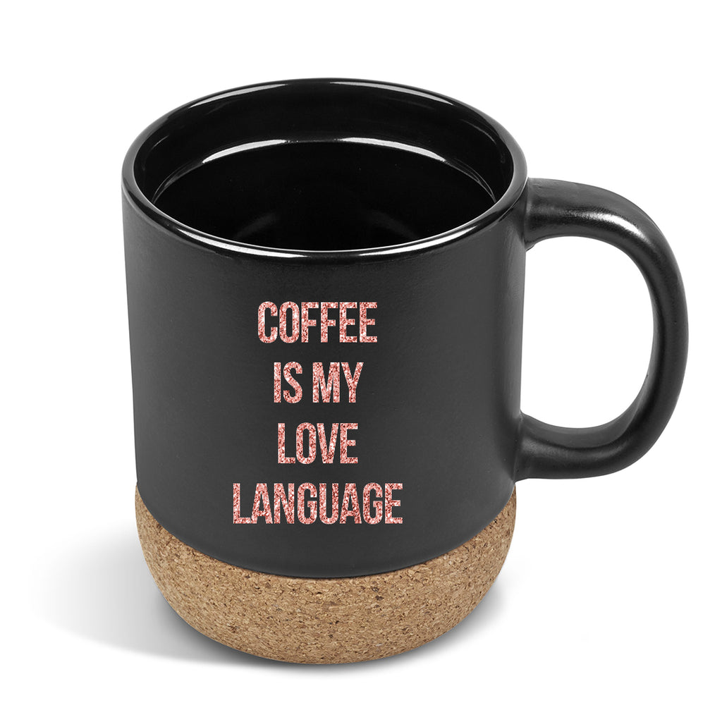 Coffee is my love language cork & Ceramic Mug with Travel lid