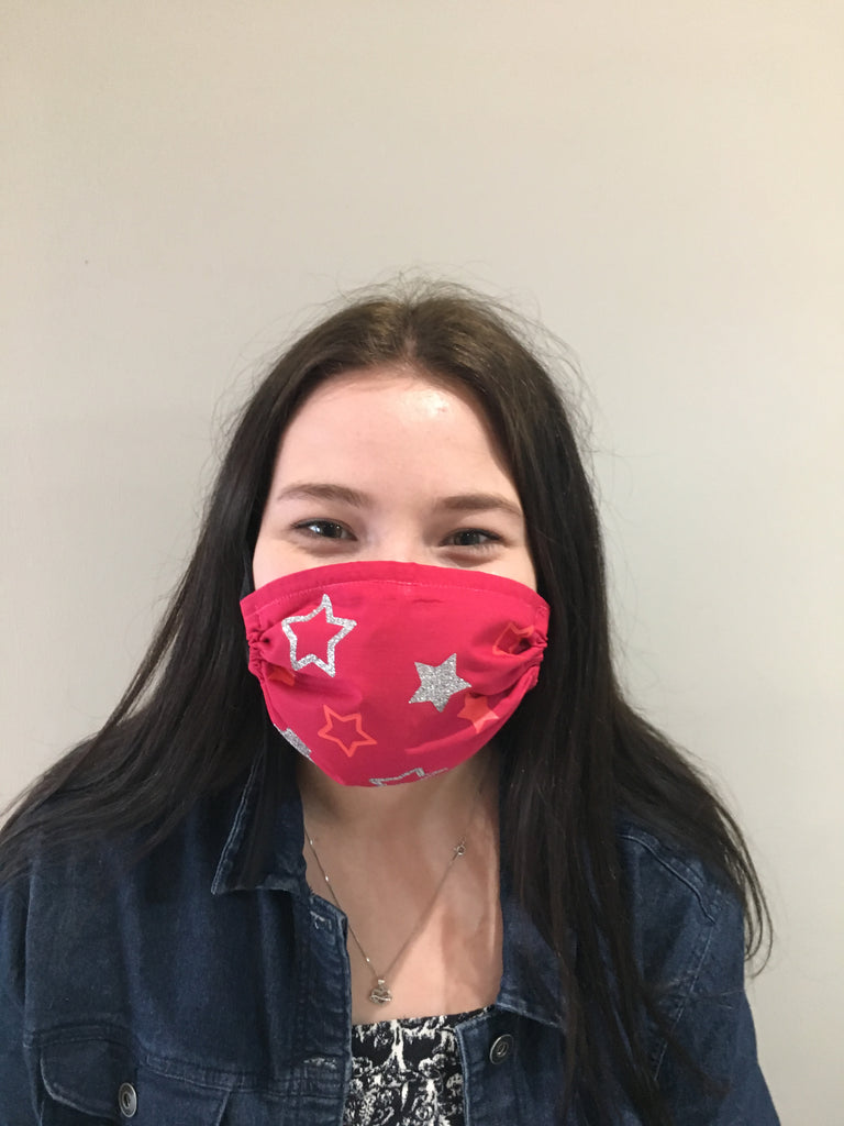 All over Stars face mask Cerise with neon & Glitter