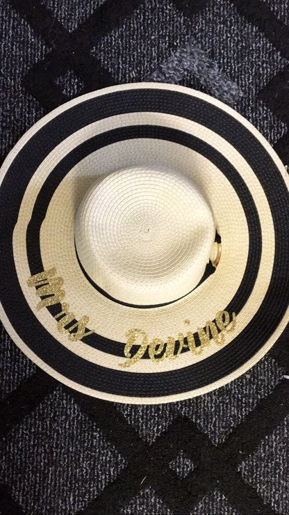 Personalized Black Striped Beach Hat