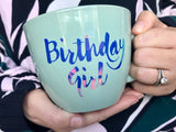 Birthday Girl Jumbo Mint Mug with Pearl
