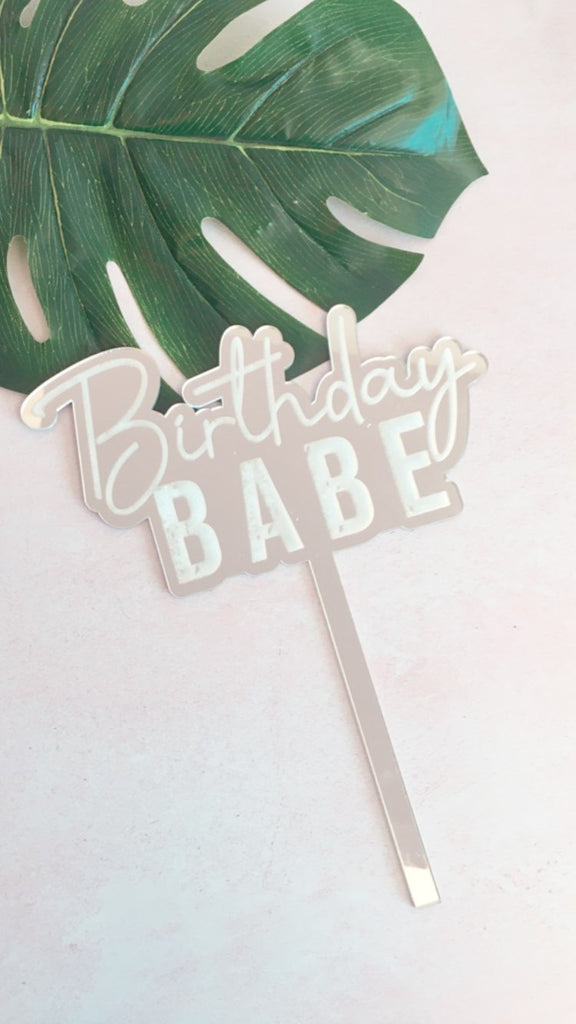 Birthday babe etched cake topper