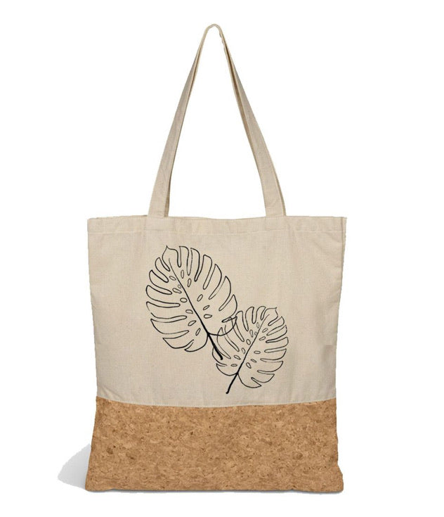 Cotton and cork tote bag with tropical leaf delicious monster