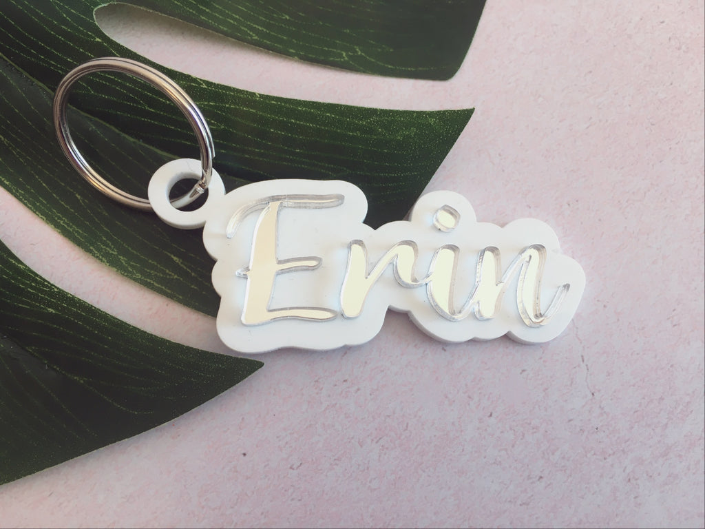 Acrylic name personalized keyring