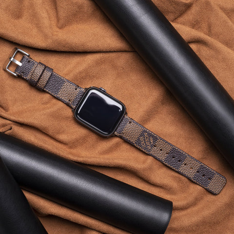 Authentic Repurposed Louis Vuitton Brown Checkered Apple Watch Band