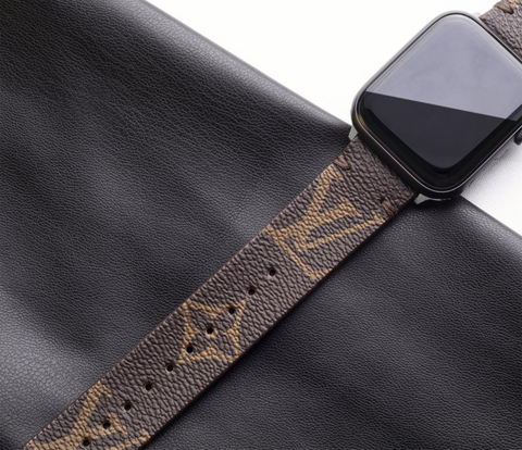 LV Authentic Repurposed Louis Vuitton Brown Apple Watch Band