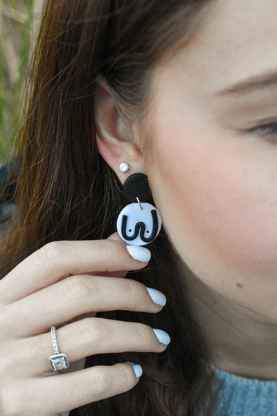 The Mammarlee Boob Dangle Earrings - Black and White - Katrilee