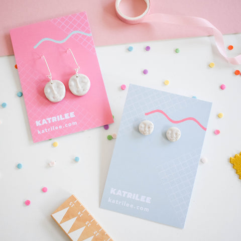 The Moonlee Moon Face Silver Hoop and Stud Earrings - Katrilee