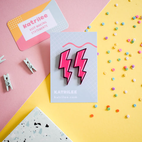 Pink Comic Book Lightning Bolt Studs - Katrilee