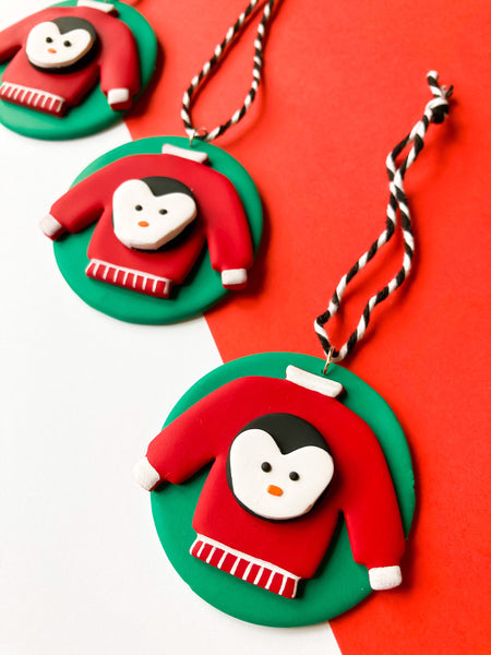 Christmas Penguin Ugly Jumper Tree Ornament - Katrilee