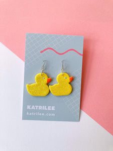 Yellow Glitter Rubber Duck Earrings - Medium - Katrilee