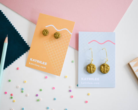 Moon Face Gold Shimmer Hoop and Stud Dangle Earrings