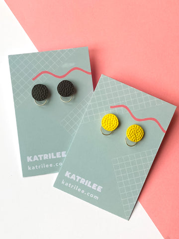 Black and Yellow Stud Earrings - Silver Hoops - Katrilee