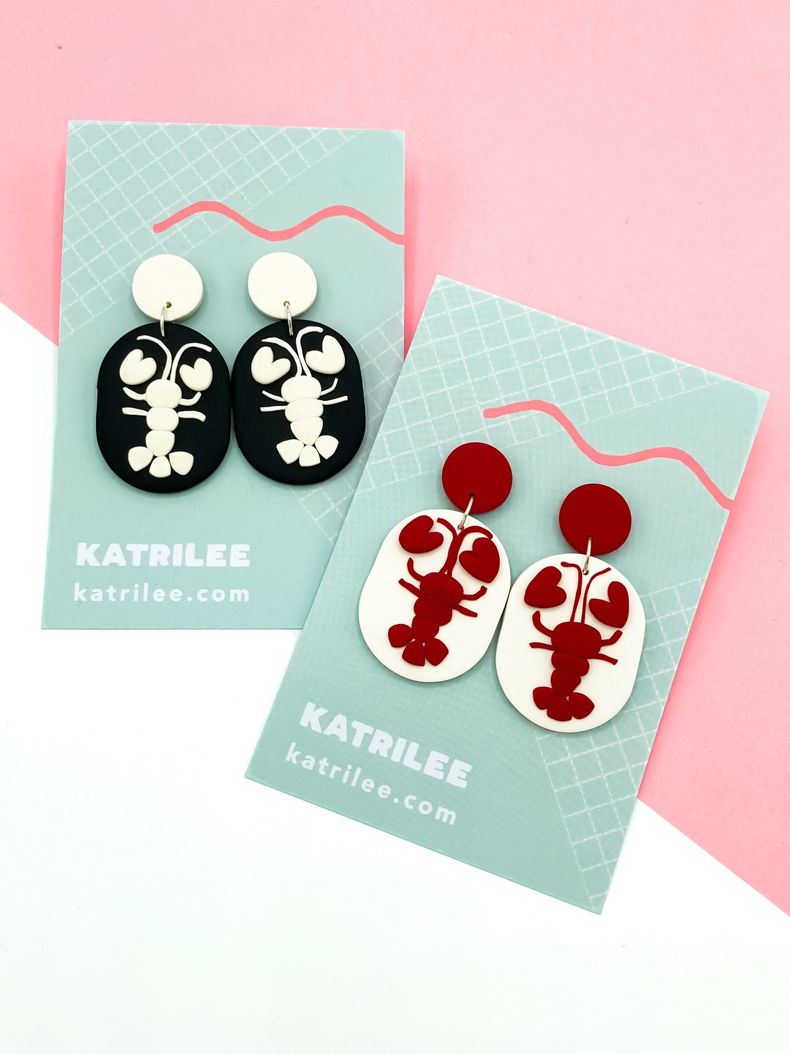 The Lobsterlee Lobster Dangle Earrings - Red/White and Black/White - Katrilee