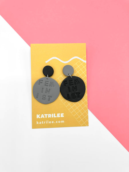 The Feminlee 'Feminist' Dangle Earrings - Black/ Grey Combi - Katrilee