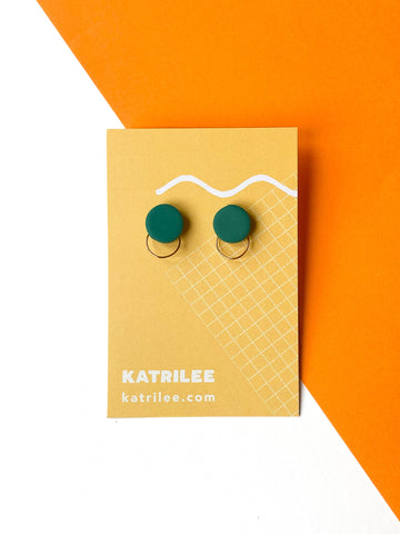 Forest Green Stud Earrings - Copper Hoops - Katrilee