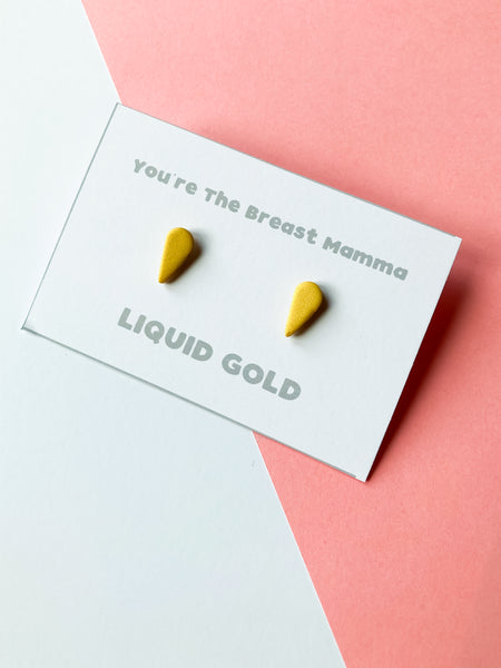 The Mammarlee Liquid Gold Breast Milk Stud Earrings - Katrilee