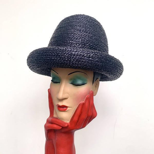 Beautiful Vintage Park Navy Chic YSL Yves Saint Laurent 1960's Domed straw oversized hat
