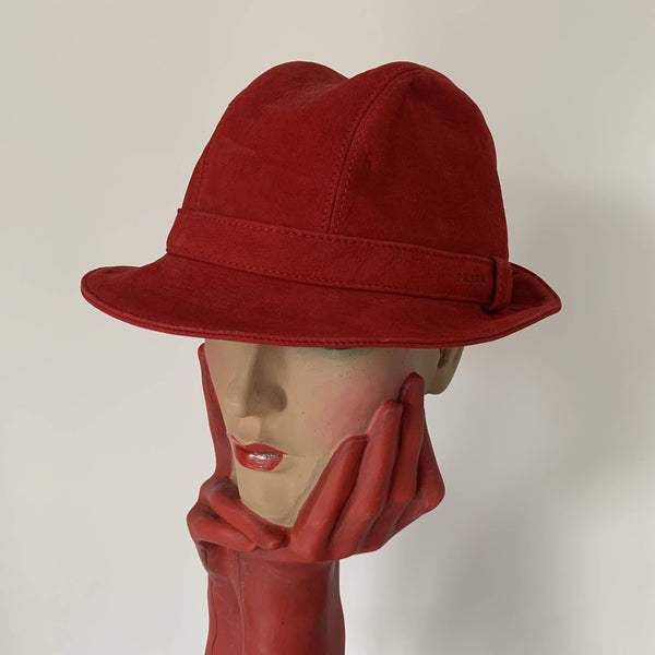 Vintage Pravda suede red leather trilby hat made in Italy