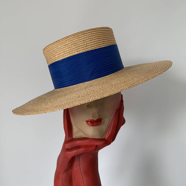 Vintage oversized boater straw hat with blue starp made in Venice, Italy